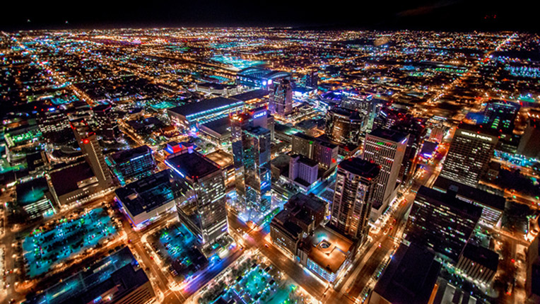 Night shot of the Downtown area of Phoenix, AZ